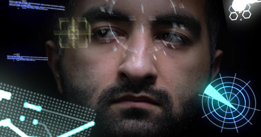Young man plunges into augmented virtual reality. Holographic helmet inside Live Action