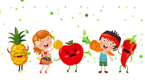 Concept Of Healthy Eating With Funny Characters Animation