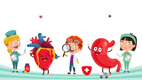 Health Care Concept With Funny Medical Characters Animation