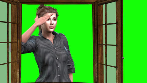 910 HD ISOLATION 3d animated girl self isolated looks from window Animation