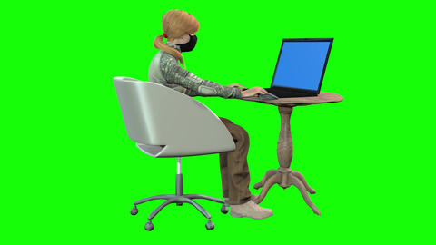 897 HD Communication 3D animated in mask girl type on computer two scenes Animation