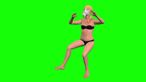 903 HD SWIMMER OCEAN 3D animated girl in mask swimming under water Animation
