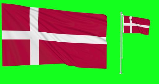 Denmark green screen two flags green screen waving green screen Denmark danish flags danish waving Animation