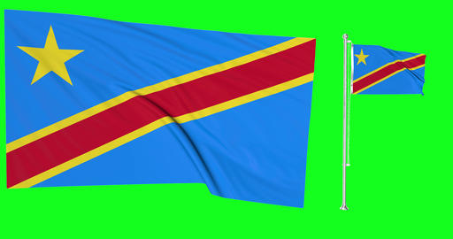 Two flags waving Democratic Republic Congo waving congolese waving flagpole national Congo national Animation