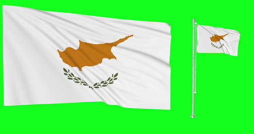 Two flags waving Cyprus waving waving flagpole national Cyprus national cypriot national flags green Animation