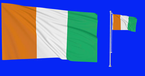 Two flags waving Cote Divore waving Cote d Ivoire waving flagpole national Cote Divore national Animation