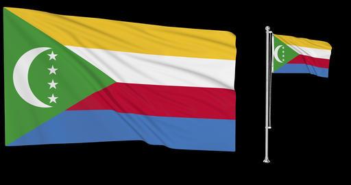 Two flags waving Comoros waving comorian waving flagpole national Comoros national comorian national Animation