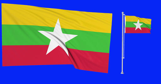 flag waving Myanmar waving Burma waving flag national Myanmar national Burma national flag green Animation