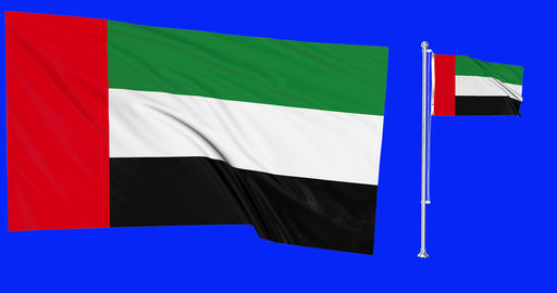 Two flags waving United Arab Emirates waving flag national United Arab Emirates national flagpole Animation