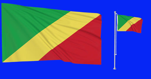 Two flags waving Republic Congo waving congolese waving flag national Republic Congo national Animation