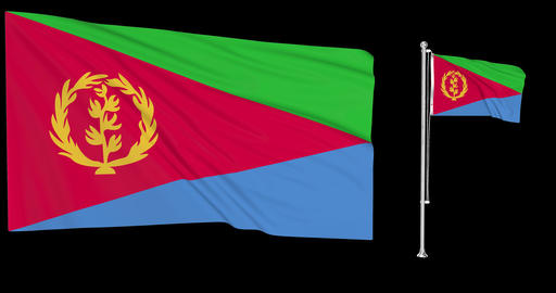 Two flags waving Eritrea waving eritrean waving flagpole national Eritrea national eritrean national Animation