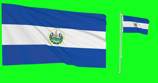 Two flags waving El Salvador waving salvadoran waving flagpole national El Salvador national flag Animation