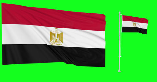Egypt green screen two flags green screen waving green screen Egypt egyptian flag egyptian waving Animation