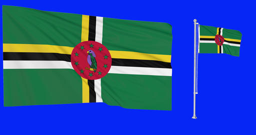 Two flags waving Dominica waving dominican waving flagpole national Dominica national dominican Animation