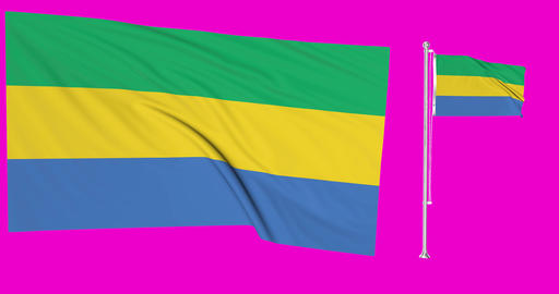 Two flags waving Gabon waving gabonese waving flagpole national Gabon national gabonese national Animation