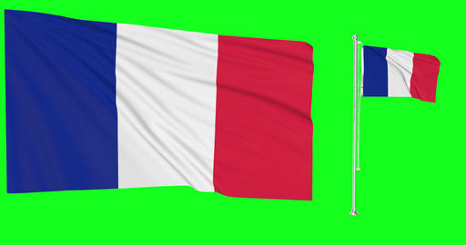 Two flags waving France waving flag national french national France national flagpole green screen Animation