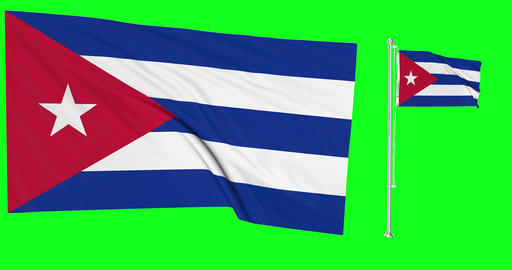 Two flags waving Cuba waving flag national cuban national Cuba national flagpole waving green screen Animation