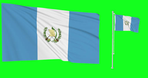 Two flags waving Guatemala waving guatemalan waving flagpole national Guatemala national guatemalan Animation