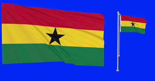 Two flags waving Ghana waving ghanaian waving flagpole national Ghana national ghanaian national Animation