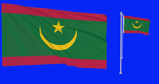 Two flags waving Mauritania waving mauritanian waving flag national Mauritania national mauritanian Animation
