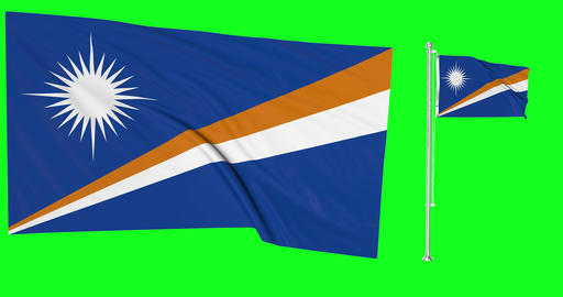 Two flags waving Marshall Islands waving flag national Algeria national flagpole green screen Animation