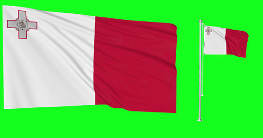 Two flags waving Malta waving greek waving flagpole national maltese national greek national flag Animation