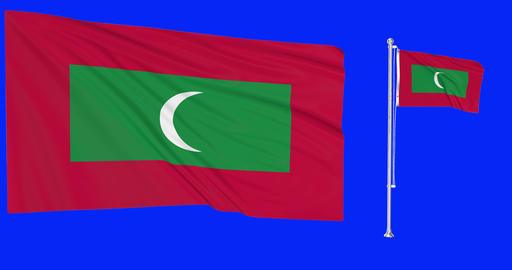 Two flags waving Maldives waving flagpole national maldivian national Maldives national flag green Animation