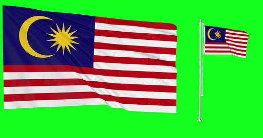 Two flags Malaysia waving Malaysian waving flag waving Malaysia flagpole Malaysian flagpole flag Animation