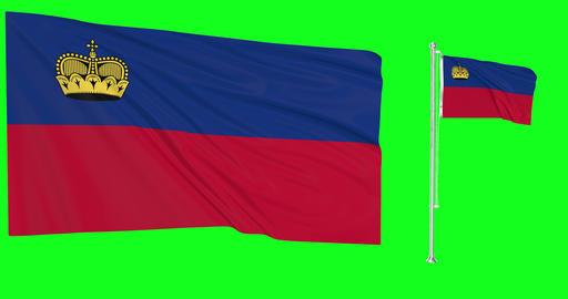 Liechtenstein waving two flags waving flagpole waving Liechtensteiner green screen flag green screen Animation