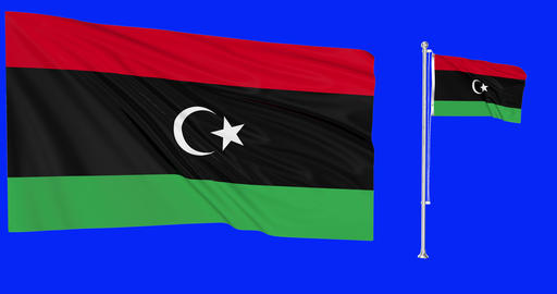 Two flags waving Libya waving libyan flagpole national libyan national Libya national flag green Animation