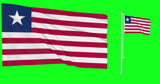 Liberia waving liberian waving two flags waving Liberia green screen liberian green screen flag Animation