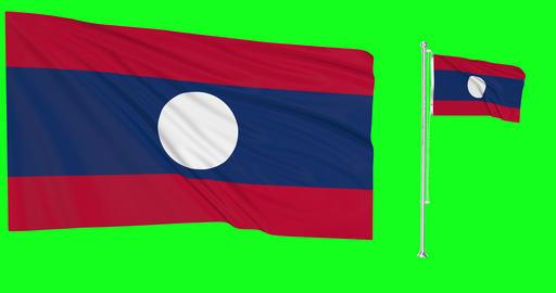 Laos waving laotian waving two flags waving Laos green screen laotian green screen flag green screen Animation