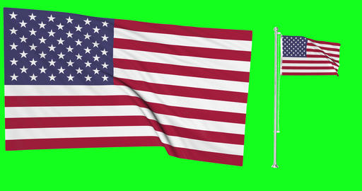 Two United States flags green screen flag green screen us waving american chroma key United States Animation