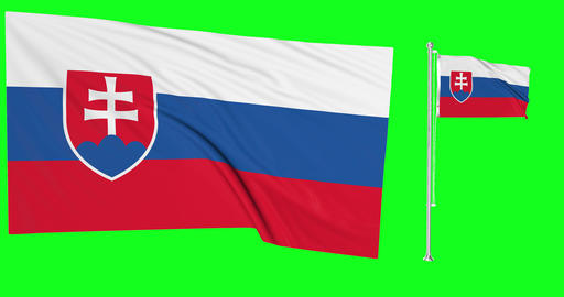 Two flags waving Slovakia waving flag national slovakian national Slovakia national flagpole green Animation