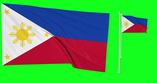 Two flags waving Philippines waving flag national Philippines national Filipino national flagpole Animation
