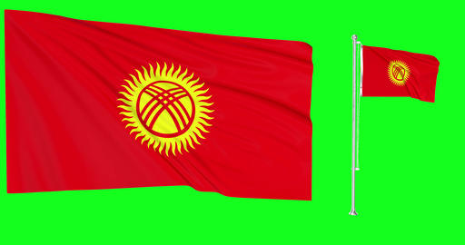 Two flags waving Kyrgyzstan waving kenyan waving flagpole national Kyrgyzstani national flag green Animation