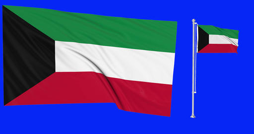 Two flags waving Kuwait waving kuwaiti waving flag national Kuwait national kuwaiti national Animation