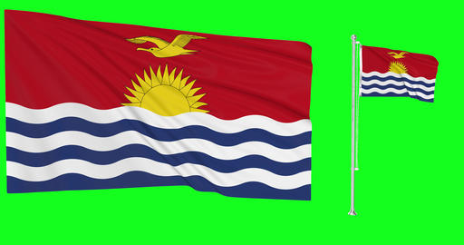 Two flags waving Kiribati waving kiribatian waving flag national Kiribati national kiribatian Animation