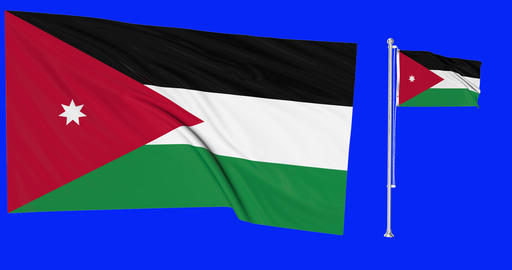 Two flags waving Jordan waving jordanian waving flagpole national Jordan national flag national Animation
