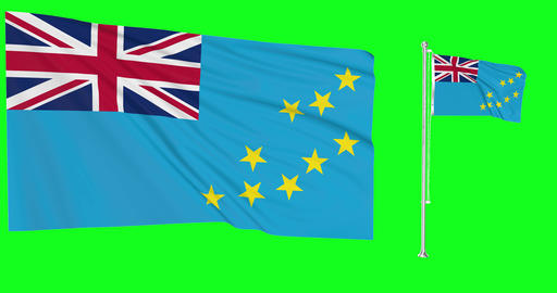 Tuvalu waving tuvaluan waving two flags waving Tuvalu green screen tuvaluan green screen flag green Animation
