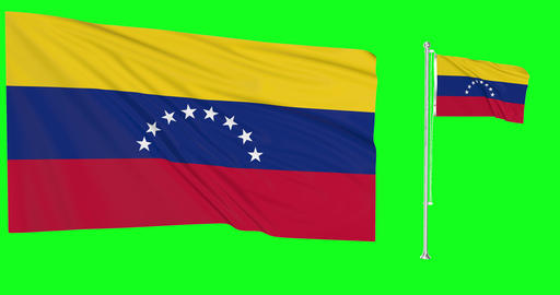 Venezuela waving venezuelan waving two flags waving Venezuela green screen venezuelan green screen Animation