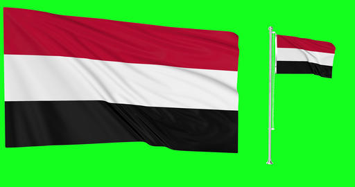 Yemen waving yemeni waving two flags waving Yemen green screen yemeni green screen flag green screen Animation