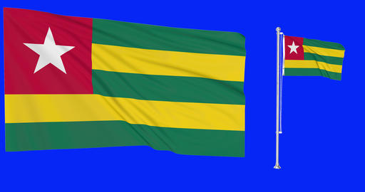Togo waving togolese waving two flags waving Togo green screen togolese flag green screen flag green Animation