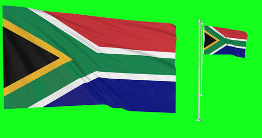 South Africa waving african waving two flags waving South Africa green screen african green screen Animation