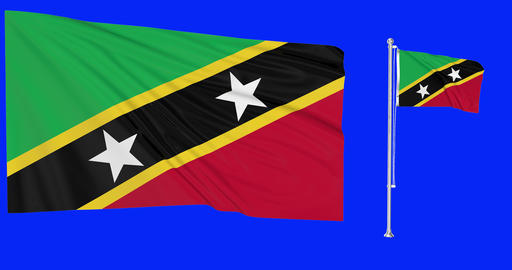 Saint Kitts and Nevis waving Kittitian waving two flags waving Saint Kitts and Nevis green screen Animation