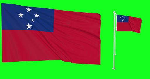 Samoa waving samoan waving two flags waving Samoa green screen samoan green screen flag green screen Animation