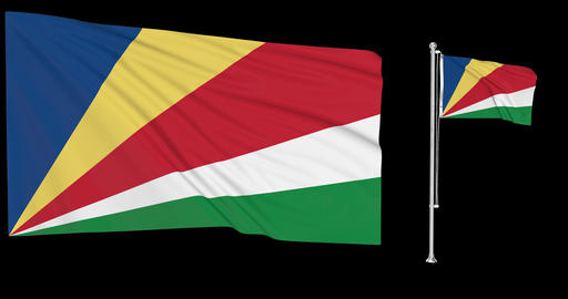 Seychelles waving Seychellois waving two flags waving Seychelles green screen Seychellois green Animation