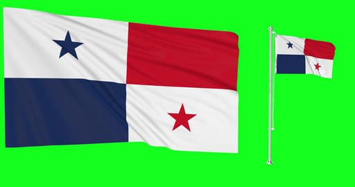 Panama waving turkmen waving two flags waving Panamanian green screen panamanian green screen flag Animation