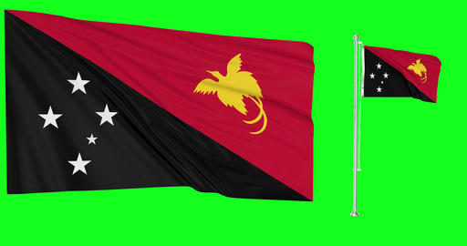 Papua New Guinea waving guinean waving two flags waving Papua New Guinea green screen guinean green Animation