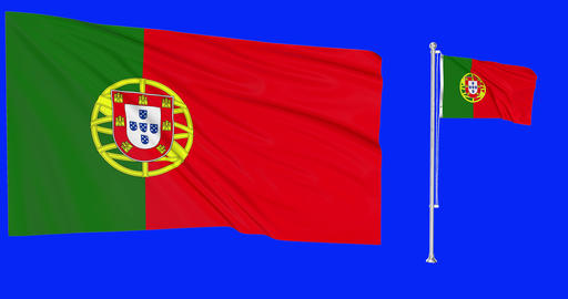 Portugal waving portuguese waving two flags waving Portugal green screen portuguese green screen Animation